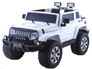 Rubicon Style White JEEP | Kids Sit & Ride In Toy Car 4wd 24v Battery Powered